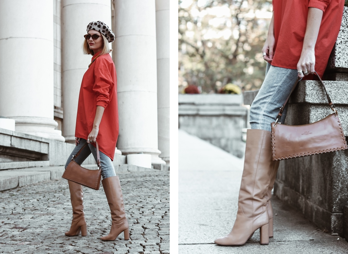 Red Oversized Shirt, Camel Boots and French Beret Autumn Outfit