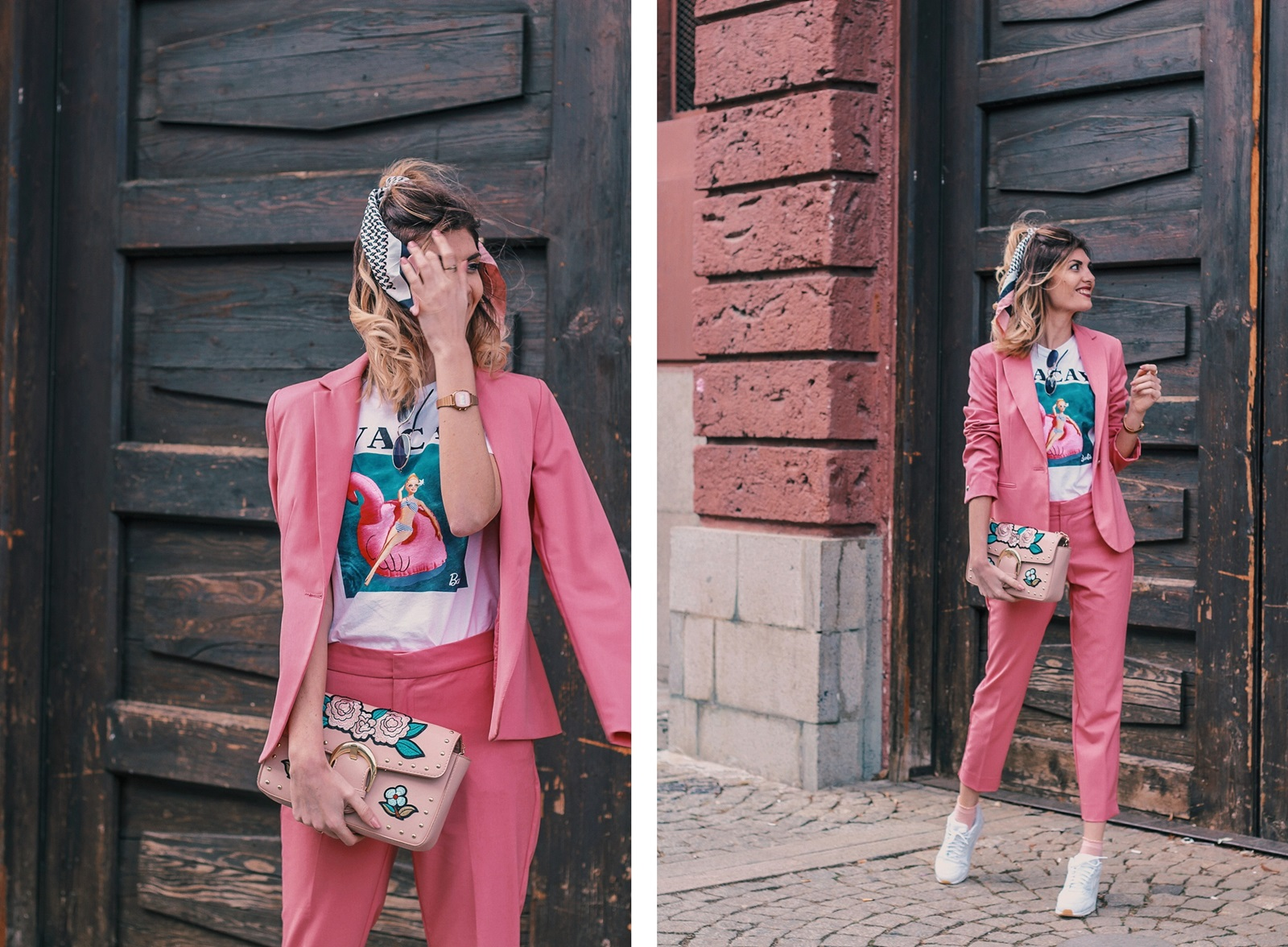 Pink Zara Blazer and Trousers, Barbie Print T-shirt, Nike Air Max Sneakers