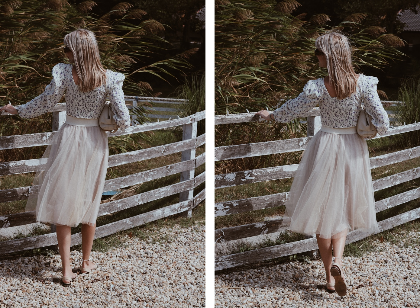 Outfit, fashion blogger, tulle skirt, floral blouse