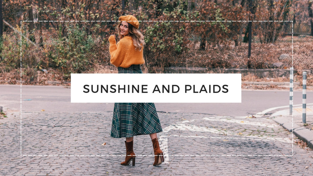 ara Autumn Winter Outfit Yellow Sweater Plaid Midi Skirt